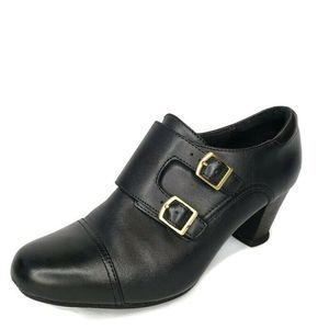 Clarks Bendables Leather  Monk Strap Ankle Boots